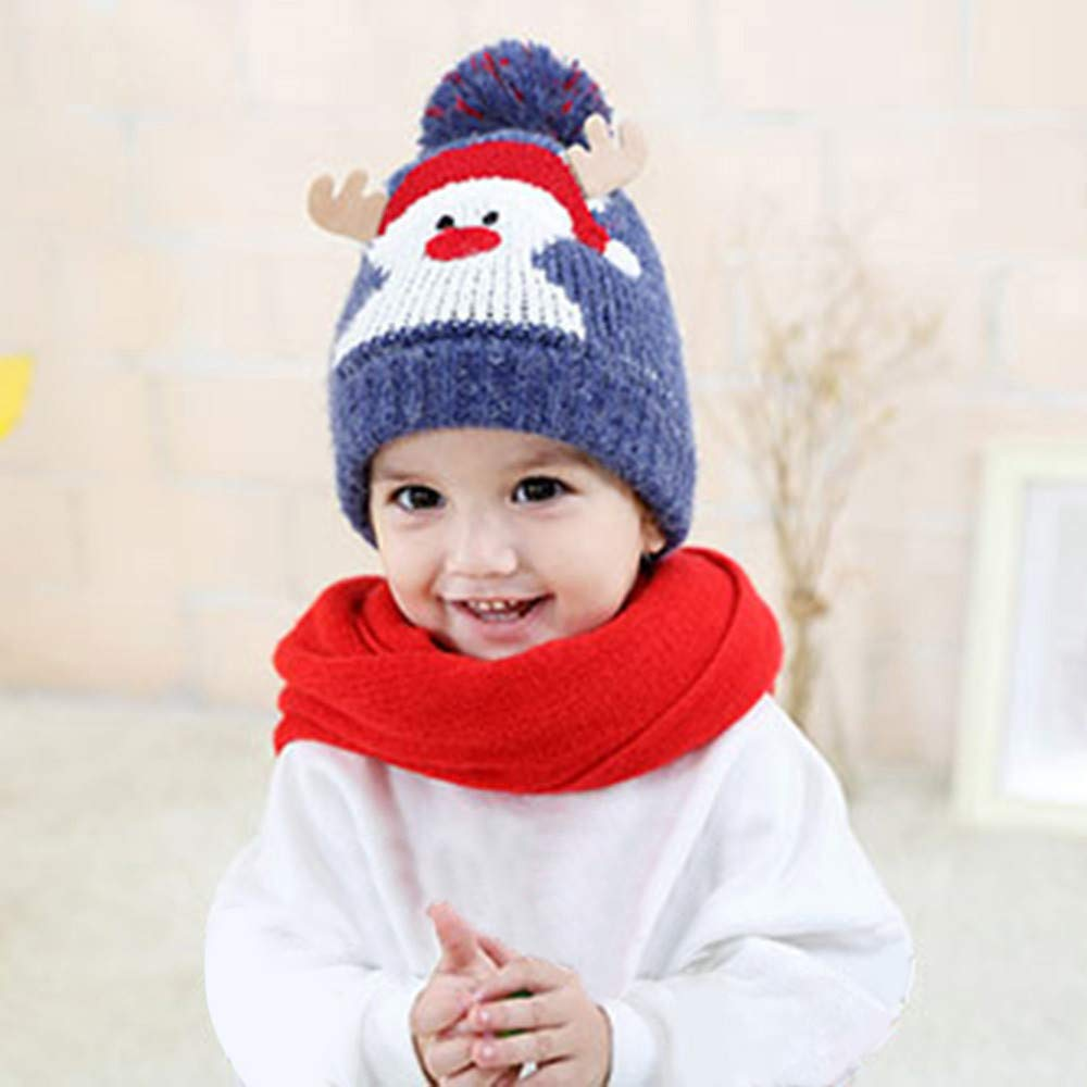 Amazon.com  Cute Baby Beanie Hats for Boys Girls Cap Cotton Letter Knitted  Ball Warm Children Christmas Hats (Blue)  Clothing a2d2004fd8a