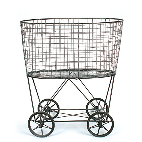Creative Co-op DE2757 Vintage Metal Laundry Basket with Wheels
