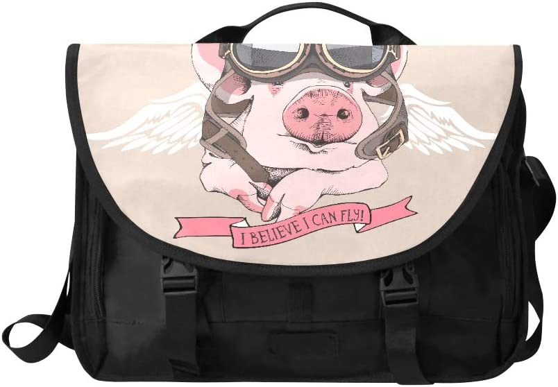 Slim Laptop Briefcase Funny Pig Retro Leather Aviator Helmet Multi-Functional Briefcase Laptop Bag for Men Fit for 15 Inch Computer Notebook MacBook