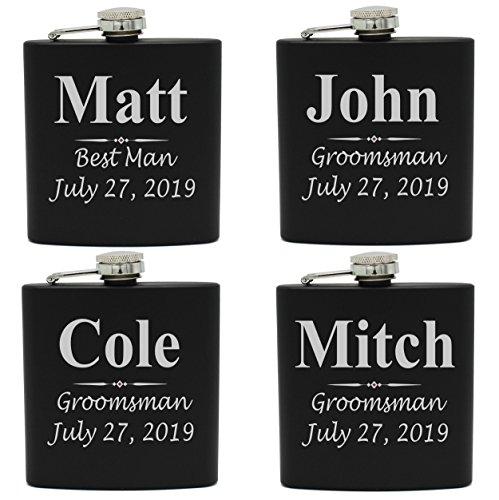 Set of 1, 2, 3, 4, 5, 6, 7, 8 Personalized Black Flask - Custom Engraved Groomsmen, Best Man, Groom Gift Flasks - 3 Lines Style -