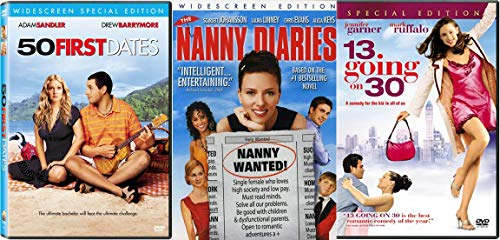 Too Cute Movies 50 First Dates & 13 Going on 30 + Nanny Diaries DVD Adam Sandler Scarlette Johansson Jennifer Garner Triple Feature Bundle