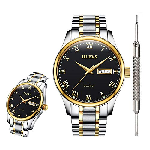 OLEVS Black Classic Watches for Men Waterproof Fashion Analog Quartz Wrist Watches for Men Calendar Day Date Watch 2019 Inexpensive Couple Watches Gift Watch (Best Mens Luxury Watches 2019)