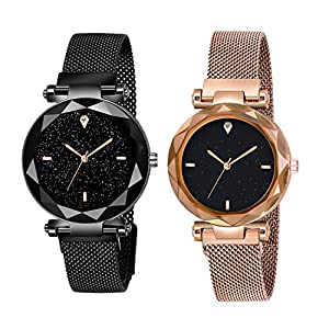 Shunya Black Round Diamond Dial with Latest Generation Black & Rosegold Magnet Belt Analogue Watch for Women Pack of - 2 (SH-BLACK-ROSEGOLD05)