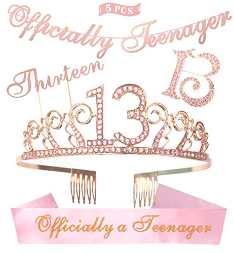 (13th Birthday Decorations Party Supplies | Pink 13th Birthday Tiara | 13th White Satin Sash Officially teenager | Pink Glittery Officially Teenager Banner | Thirteen Cake Topper | 13 Pink)