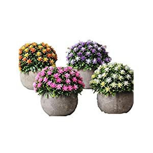CL Artificial Shrubs, Faux Plastic Eucalyptus Leaves Bushes Fake Simulation Greenery Plants Baby's Breath Gypsophila Paniculata Flowers Indoor Outside Home Garden Office Wedding Home Decor 112