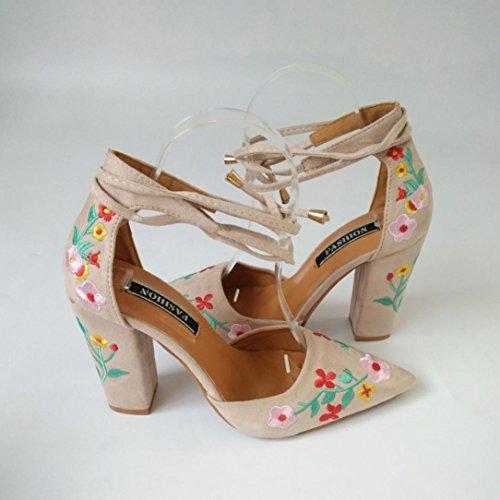 SANFASHION Frauen Stickerei Schuhe Wildflower Spitz High mit Khaki Große Crude Förderung Heels 1waxqaA