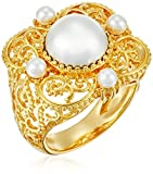 18k Gold Plated Fine Silver Plated Brass White Shell Pearl Vintage Estate Ring, Size 7
