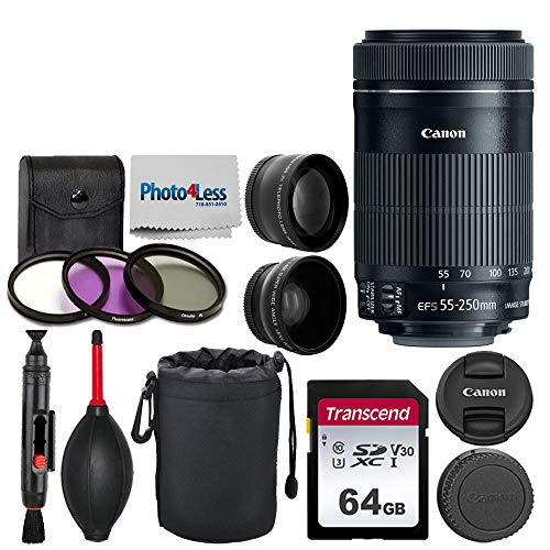 Canon EF-S 55-250mm F4-5.6 is STM Lens for Canon SLR Cameras + 58mm 2X Professional Telephoto Lens + High Definition 58mm Wide Angle Lens + 64GB Memory Card + 6