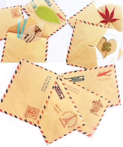 Set of 10 Mini Envelope Vintage Style Airmail Kraft Paper 4 different Designs (Eagle Pattern)
