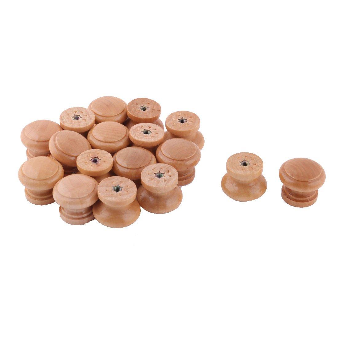 uxcell Bedroom Mushroom Design Dresser Drawer Closet Handgrip Pull Knob 17pcs Wood Color
