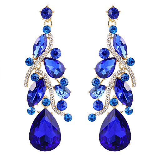 mian Boho Dangle Earrings with Crystal Multi Teardrop Filigree Cluster Chandelier Royal Blue Sapphire Color Gold-Toned ()