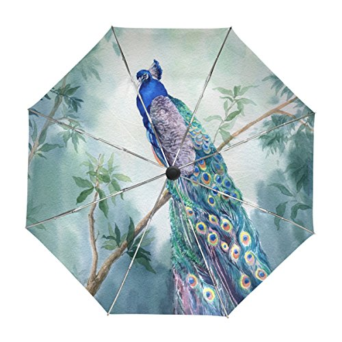 ALAZA Peacock Watercolor Travel Umbrella Auto Open Close UV Protection Windproof