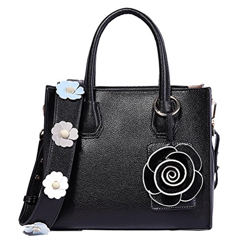 Women's SUNROLAN Messenger Top Leather Shoulder Tote Genuine Black Purse Bag Handle Handbags Bag Satchel SddRx0