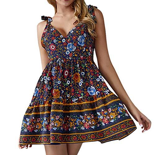 Wobuoke Fashion Women Ladies Summer Sexy V Neck Floral Print Adjustable Spaghetti Strap Sleeveless Beach Dress Blue ()