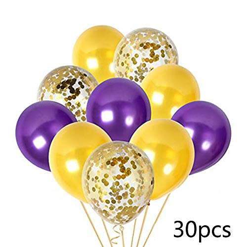 Purple And Gold Decorations (30PCS Purple and Gold Confetti Balloons Party Decorations for Birthday Retirement Birdal Shower Congrats Graduation Supplies Wedding Anniversary)