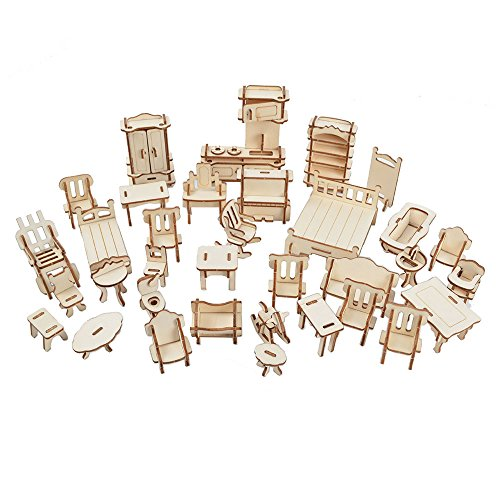 BOHS 1SET=34PCS Wooden Dollhouse Furnitures 3D Puzzle Scale Miniature Models Doll House DIY Accessories