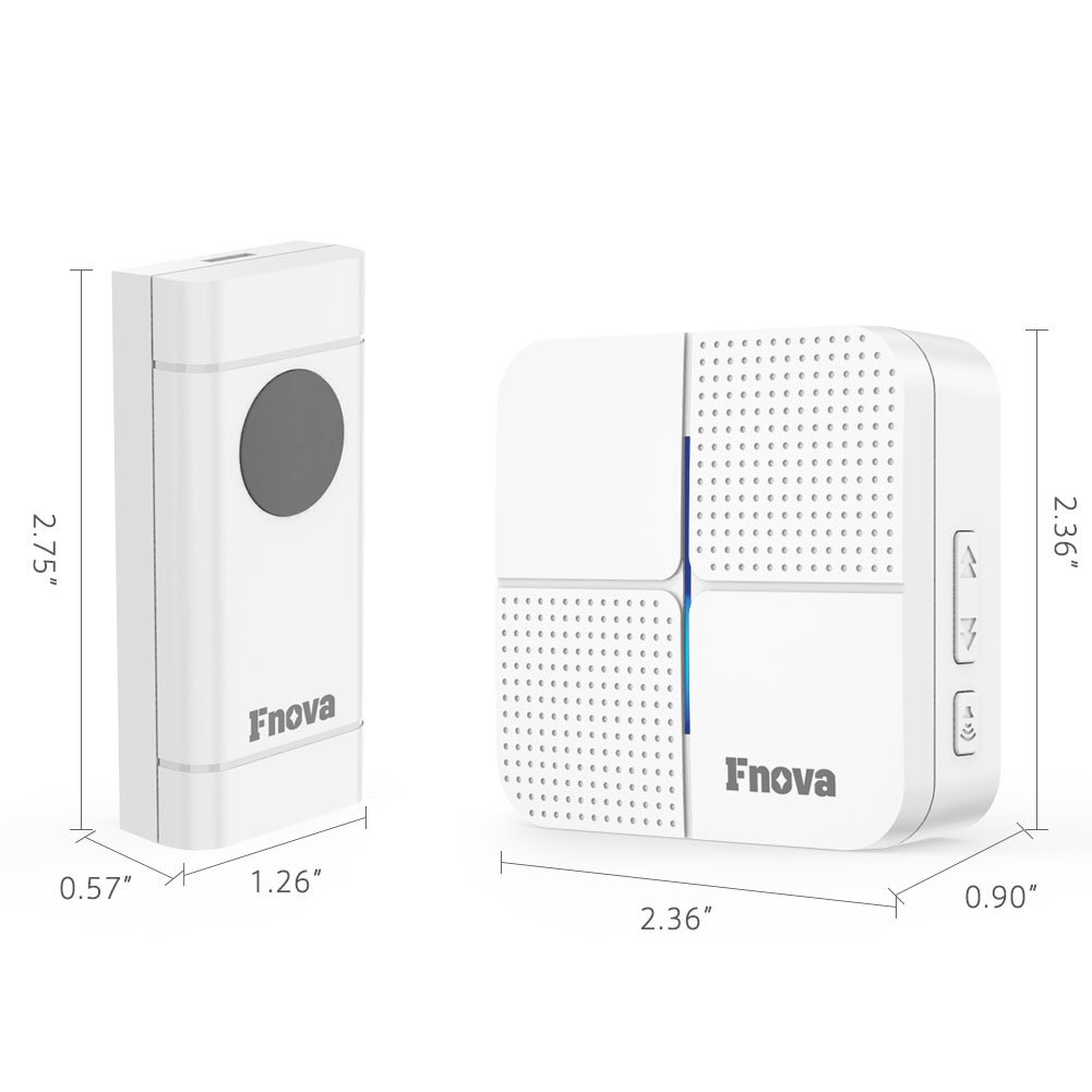 Wireless Doorbell Fnova Waterproof Kit Operating At 500 Time Integrated Electronic Without Audio Transformer 1000 Ft With 1 Push Button And Plugin Receiver 52 Ringtones 4 Volumes No Batteries