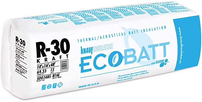 Knauf Ecobatt R30 16 48 Kraft Paper Faced 8 Bags Of Fiberglass Insulation 554 64 Sf Amazon Com
