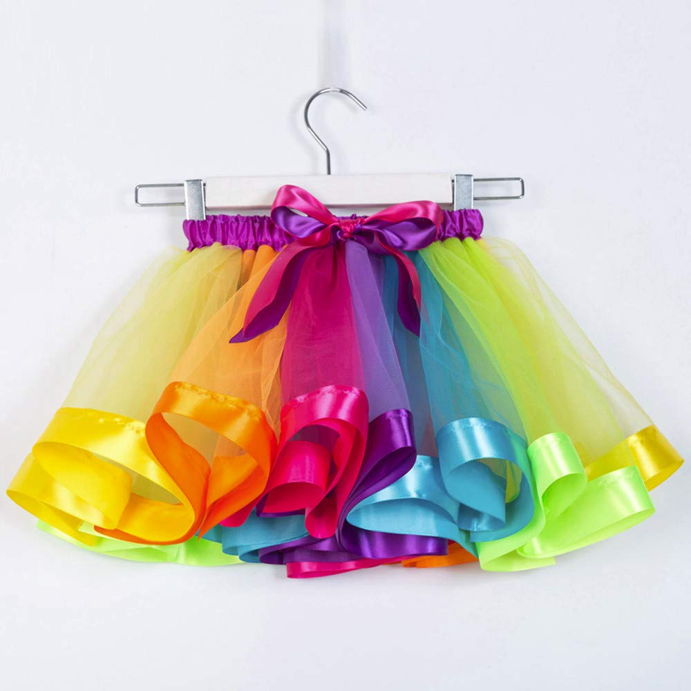 2-11T P/úrpura Happy-day Ropa Bebe Algodon ni/ño, Rosa Arco Horquilla Hair Set Azul,S,M,L Malla Infantil Rainbow Princess Ballet Tut/ú Performance Falda Tutu Falda