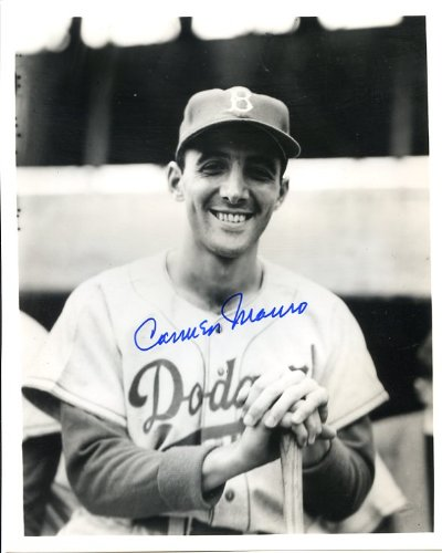 Carmen Mauro (D. 2003) Autographed/ Original Signed 8x10 B&W Photo Showing Him with the Brooklyn Dodgers in 1953...
