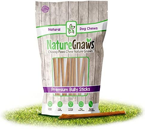 Nature Gnaws Extra Thin Bully Sticks 5-6 Inch – Premium Natural Free-Range Beef Chews – Single Ingredient Chew Treats for Small Dogs and Senior Chewers – Rawhide Alternative