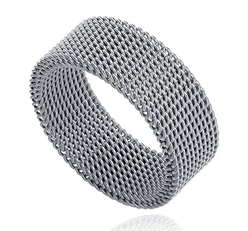 Milo Bruno 8MM Stainless Steel Mesh Ring -10 (Stainless Mesh Steel Ring)
