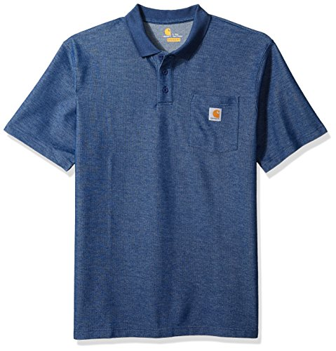 Carhartt Men's Big Big & Tall Contractors Work Pocket Polo Original Fit K570, Dark Cobalt Blue Heather, 3X-Large/Tall