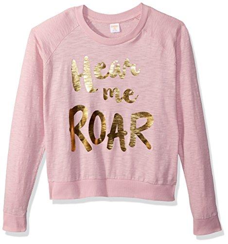 Gymboree Girls' Big Long Sleeve Crew Neck Raglan Sweater, Heather Pink Hear me Roar, L ()