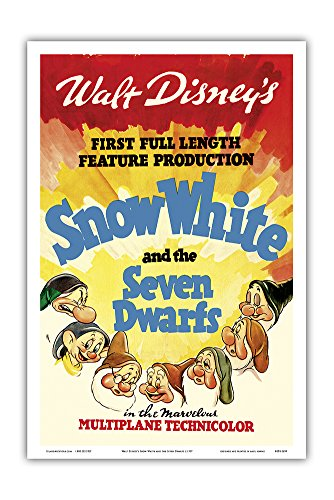 Walt Disney's Snow White and The Seven Dwarfs - First Full Length Feature Production - Vintage Film Movie Poster c.1937 - Master Art Print - 12in x 18in (Snow White And The Seven Dwarfs Painting)