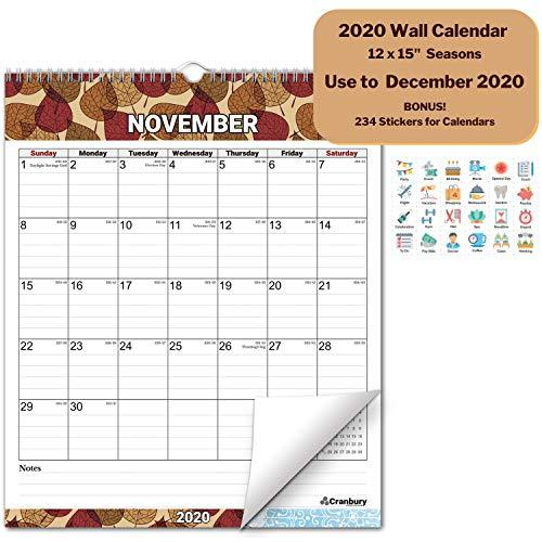 Large 12x15 Wall Calendar 2020 Calendar (Seasons) Monthly 2020 Wall Calendar, Use Now to December 2020, with Stickers for Calandars, Hanging Office Calendar by Cranbury (Wall Calendar Big Print)