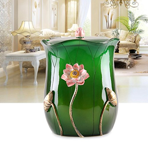 High quality environmentally friendly resin storage barrel with lid living room kitchen bathroom trash , emerald green wexe.com