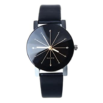 eb896a9ce0ad9 Montre Femme Pas Cher ✿luoluoluo✿ Cadran De Quartz Horloge Bracelet En Cuir  Montre Ronde - Montre Noir Homme Montre Noire Femme (Femme): Amazon.fr: ...