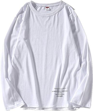 Camiseta de manga larga para hombre, cuello redondo, algodón: Amazon.es: Ropa y accesorios