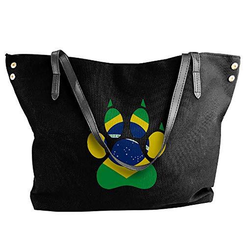 Dog Tote Black Paw Handbag Handbag Flag Canvas Women's Large Tote Hobo Brazil Shoulder Bag n0xRpO