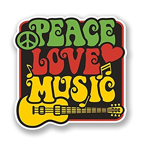 Peace Window (3 Pack - Love Peace Music WINDOW CLING STICKER Car Van Campervan Glass - Sticker Graphic - Construction Toolbox, Hardhat, Lunchbox, Helmet, Mechanic, Luggage)