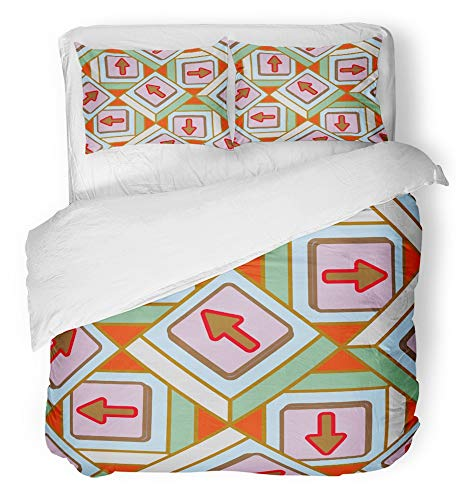 Emvency 3 Piece Duvet Cover Set Breathable Brushed Microfiber Fabric Accent Abstract Pattern with Arrows on Button Allusive America Bottom Crank Bedding Set with 2 Pillow Covers King Size -