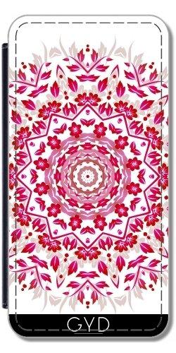 Leder Flip Case Tasche Hülle für Apple Iphone 7 / Iphone 8 - Rosa Weiße Blumen-Mandala by Nina Baydur