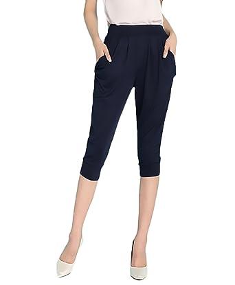 e95058e12b6d Lannister Fashion Haremshose Damen Elastisches High Waist Freizeit Baggy  Bequeme Oversize Einfarbig 3 4 Hose