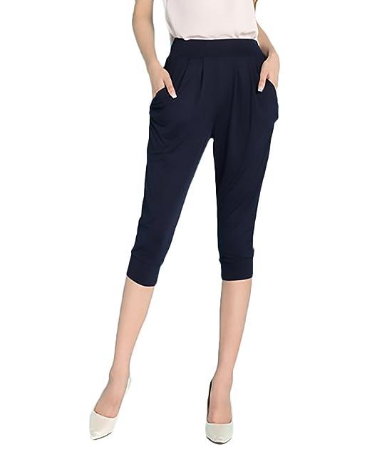 bf68f22a29e7a2 Laisla Fashion Pantaloni Harem Donna Con Elastico Vita Alta Casual Baggy  Comode Taglie Forti Bermuda Pantalone Puro Colore: Amazon.it: Abbigliamento
