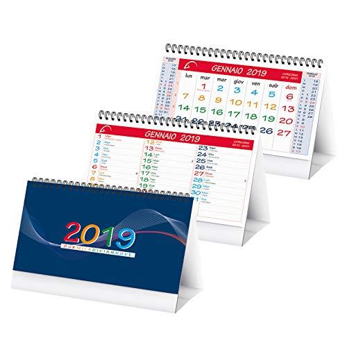 Calendario da tavolo triangolare MultiCOLOR doppia faccia spiralato 2019 19x14 rosso (1 pezzo) Promit