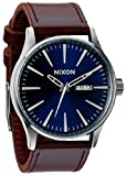 Blue/Brown The Sentry Leather Watch by Nixon