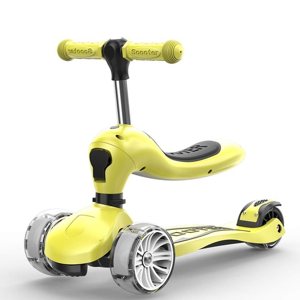 2019年秋冬新作 スクーターを蹴る子供たち 折りたたみスクーター、ウォーカーサーフィンカー(18歳) (色 : ピンク) B07R5WKBLL : 黄 (色 ピンク) 黄, エクステリアのキロ:ee3fb255 --- 4x4.lt