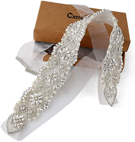 Accesorios de boda hechos a mano Cinturón nupcial Cinturón de cristal de diamantes de imitación para vestido de novia Organza plata blanca