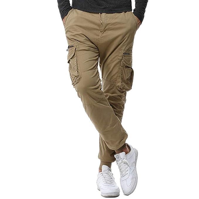 Pantalones de Trabajo para Hombre,Hombres Multi-Bolsillo Recto Suelto Combate Cremallera Cargo Cintura Trabajo pantalón Casual Pantalones: Amazon.es: Ropa y ...