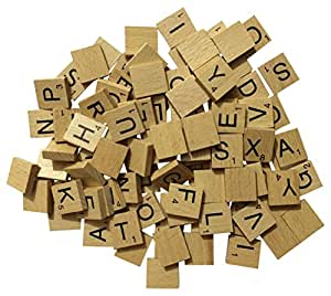 Set de 100 letras de madera para scrabble set para juegos de mesa manualidades joyer a - Letras scrabble madera ...
