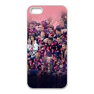 Hf95 Fc Barcelona, ??Liga de Campeones de Big Ear caso del iPhone 5 Deportes 5S teléfono celular funda blanca del teléfono celular Funda Cubierta EEECBCAAJ78578