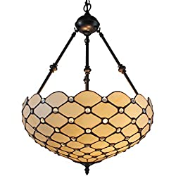 Amora Lighting AM1117HL18 Tiffany Style Ceiling Hanging Pendant Lamp 18-Inch 2 Lights, White