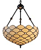 Amora Lighting AM1117HL18 Tiffany Style Ceiling Hanging Pendant Lamp 18-Inch 2 Lights - White