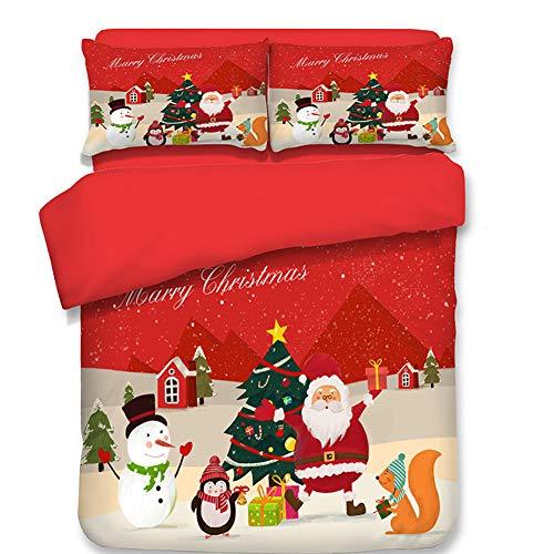 Red Super Soft Christmas Duvet Cover Set, Hidden Zipper Design with 4 Corner Ties Polyester Fiber, Santa Claus, Snowman, Tree Pattern, Queen