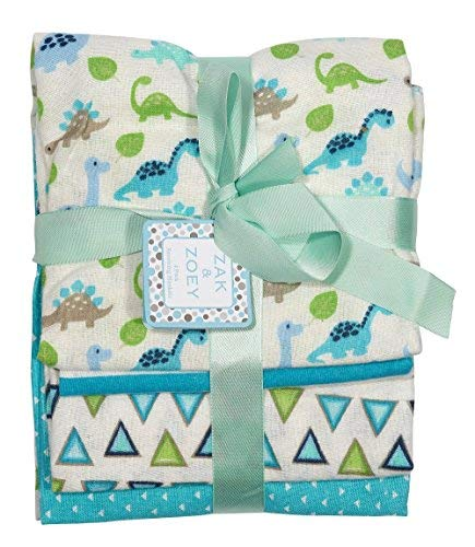 (Zak and Zoey 4-Pack Flannel Receiving Blankets Green, Light Blue, Turquoise )